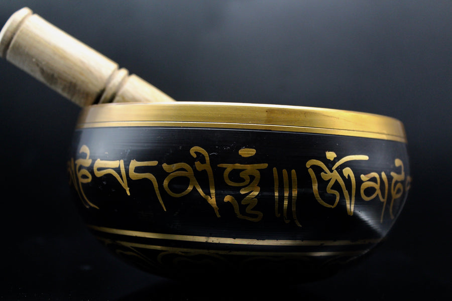 Black Brass Singing Bowl || 6 inch