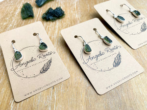 Moldavite Sterling Drop Earrings