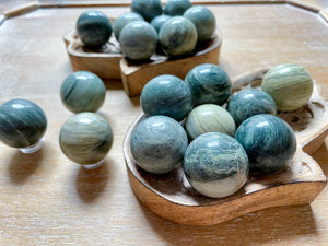 Green Hair Jasper Sphere || Mini