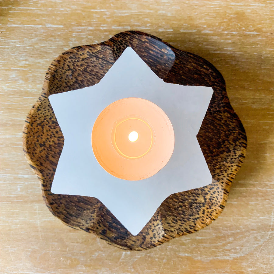 Selenite Star Tealight Candle Holder