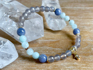 Green Angelite, Tanzanite & Gray Agate Beaded Bracelet || Reiki Infused