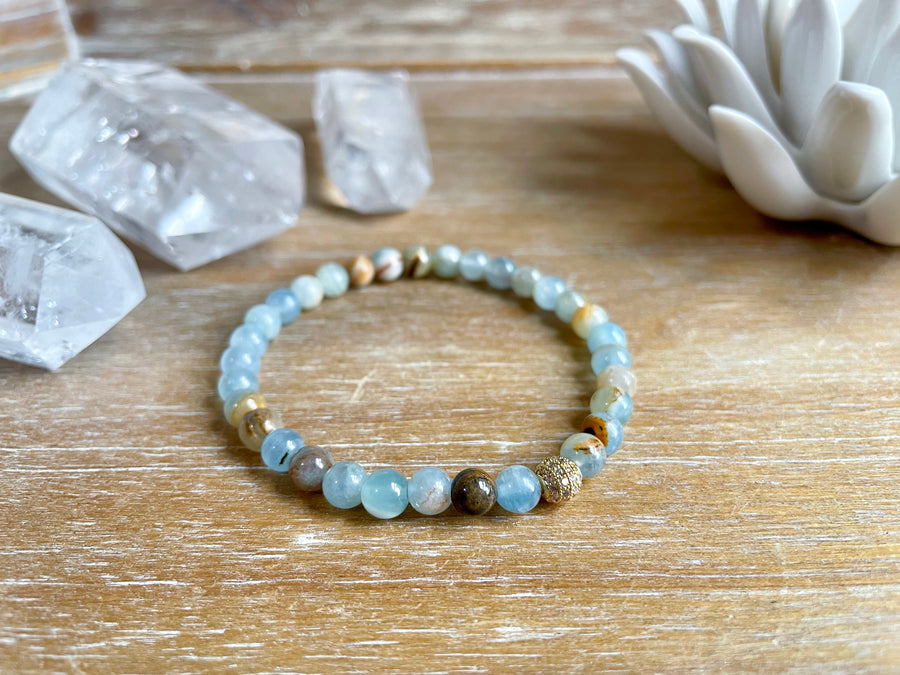 Leumurian Aquatine Calcite Beaded Bracelet || Reiki Infused