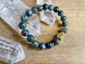 Labradorite Buddha 10mm Beaded Bracelet || Reiki Infused