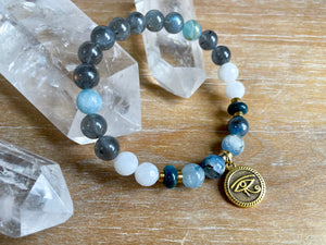 Evil Eye Protection || Lemurian Aqautine Calcite, Kyanite, Labradorite, Apatite & Moonstone Faceted Bracelet || Reiki InfusedEvil Eye Protection || Lemurian Aqautine Calcite, Kyanite, Labradorite, Apatite & Moonstone Bracelet || Reiki Infused
