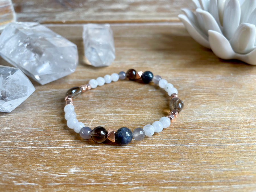 Moonstone, Gray Agate & Smoky Quartz Beaded Bracelet || Reiki Infused
