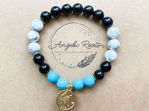 LEO GOLD EDITION Onyx, Howlite, Turquoise Beaded Bracelet || Reiki Infused