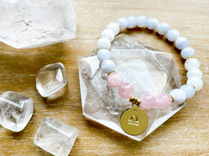 LIBRA GOLD EDITION Blue Lace Agate, Moonstone, Rose Quartz Beaded Bracelet || Reiki Infused