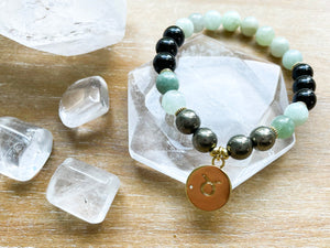 TAURUS GOLD EDITION Burmese Jade, Tourmaline, Pyrite Beaded Bracelet || Reiki Infused