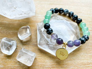 VIRGO GOLD EDITION Snowflake Obsidian, Green Aventurine, Amethyst Beaded Bracelet || Reiki Infused