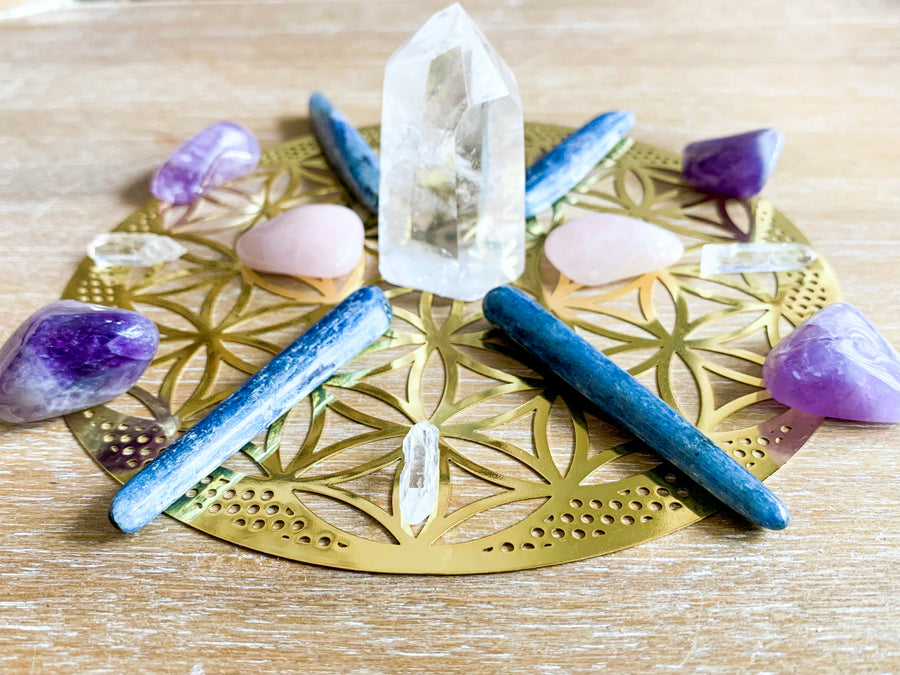 18kt Gold Flower of Life Crystal Grid Template