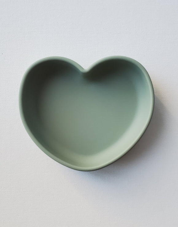 Silicone Heart Plate- Sage