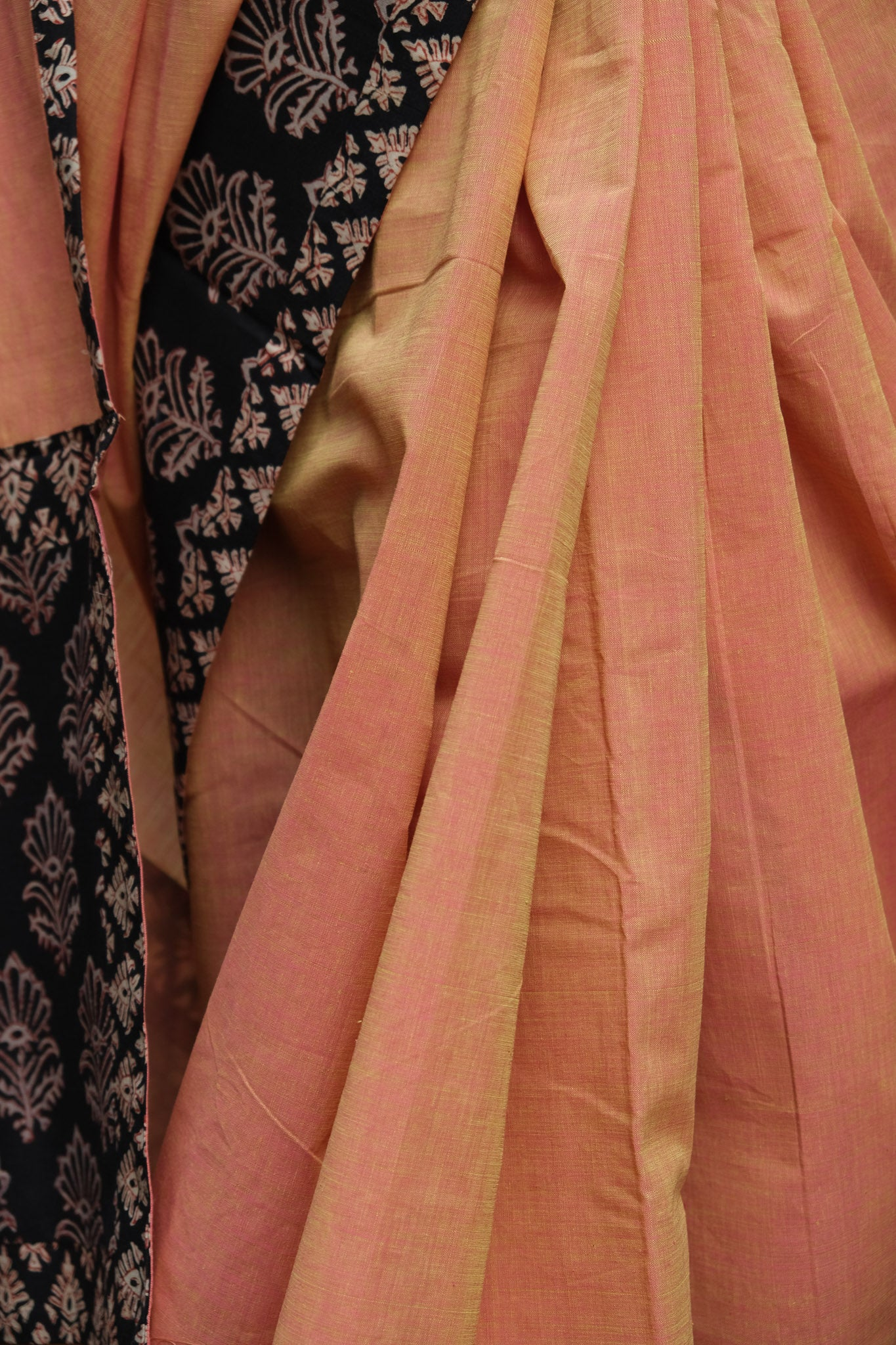 Salmon orange patchwork saree