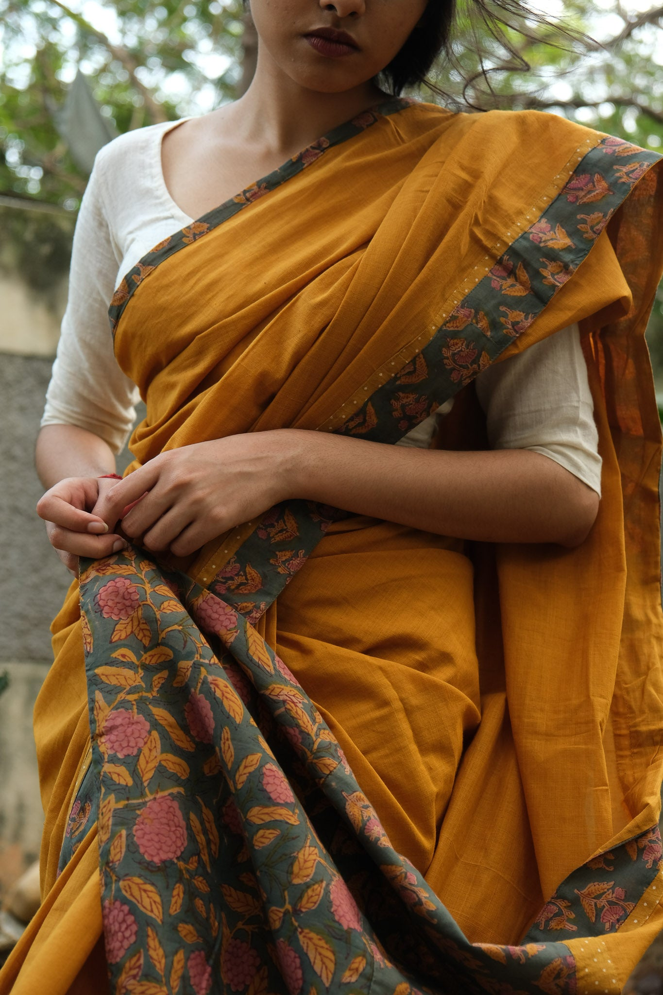 Mustard patchwork saree - pallu design