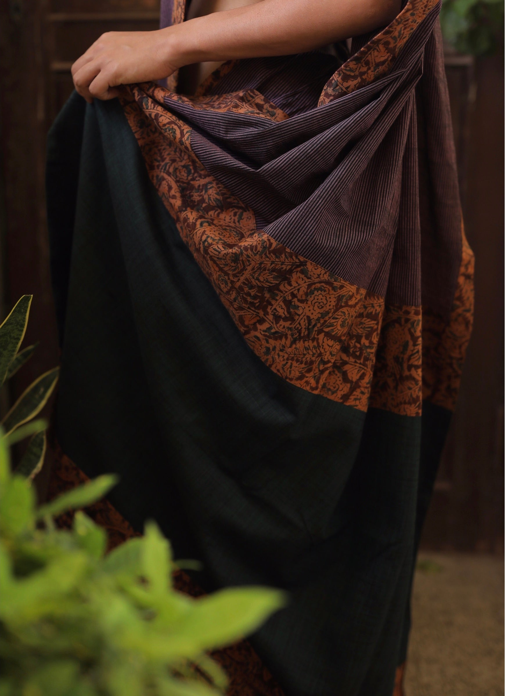 Striped Purple With Kalamkari