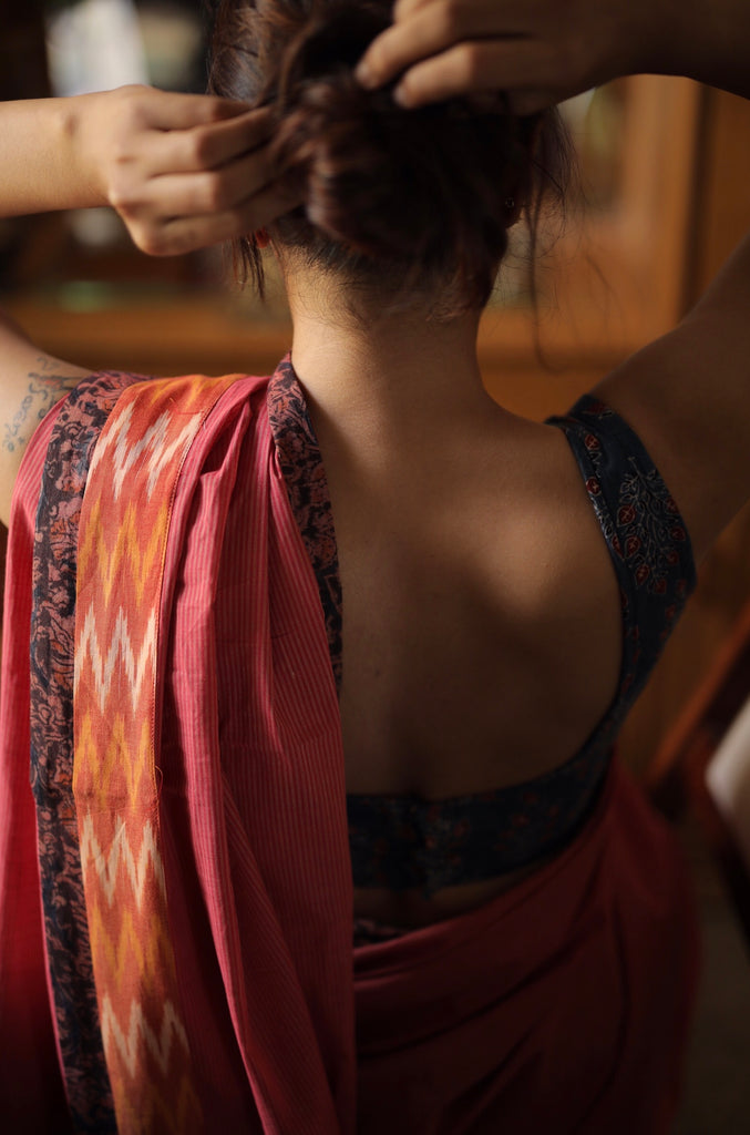 Pink Striped | Kalamkari