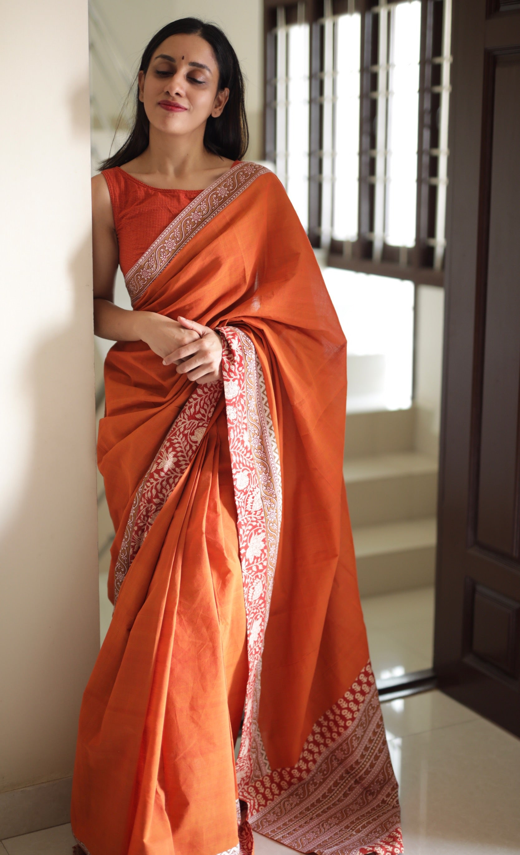 Bright Orange | Kalamkari