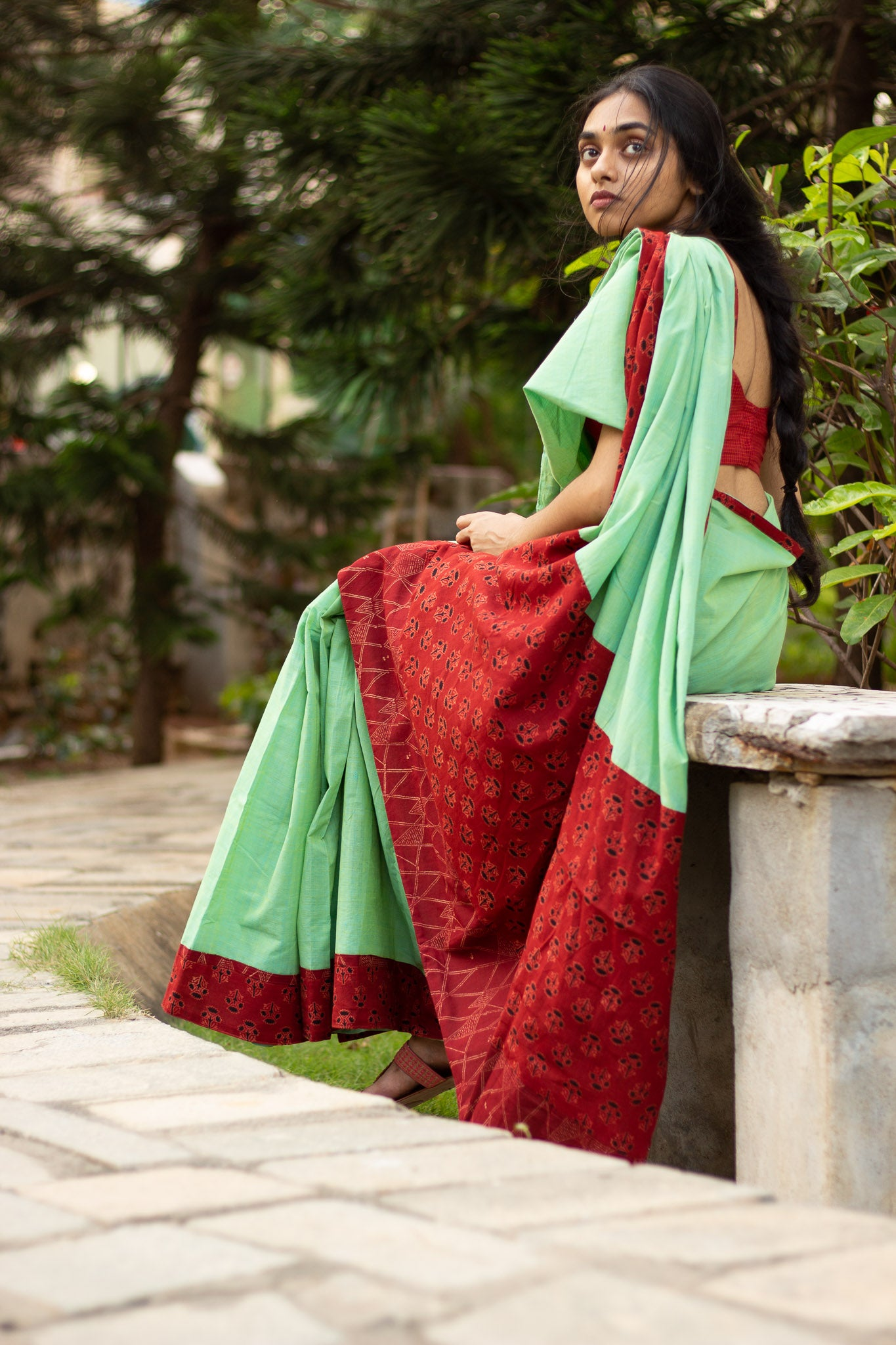 Mint green patchwork saree