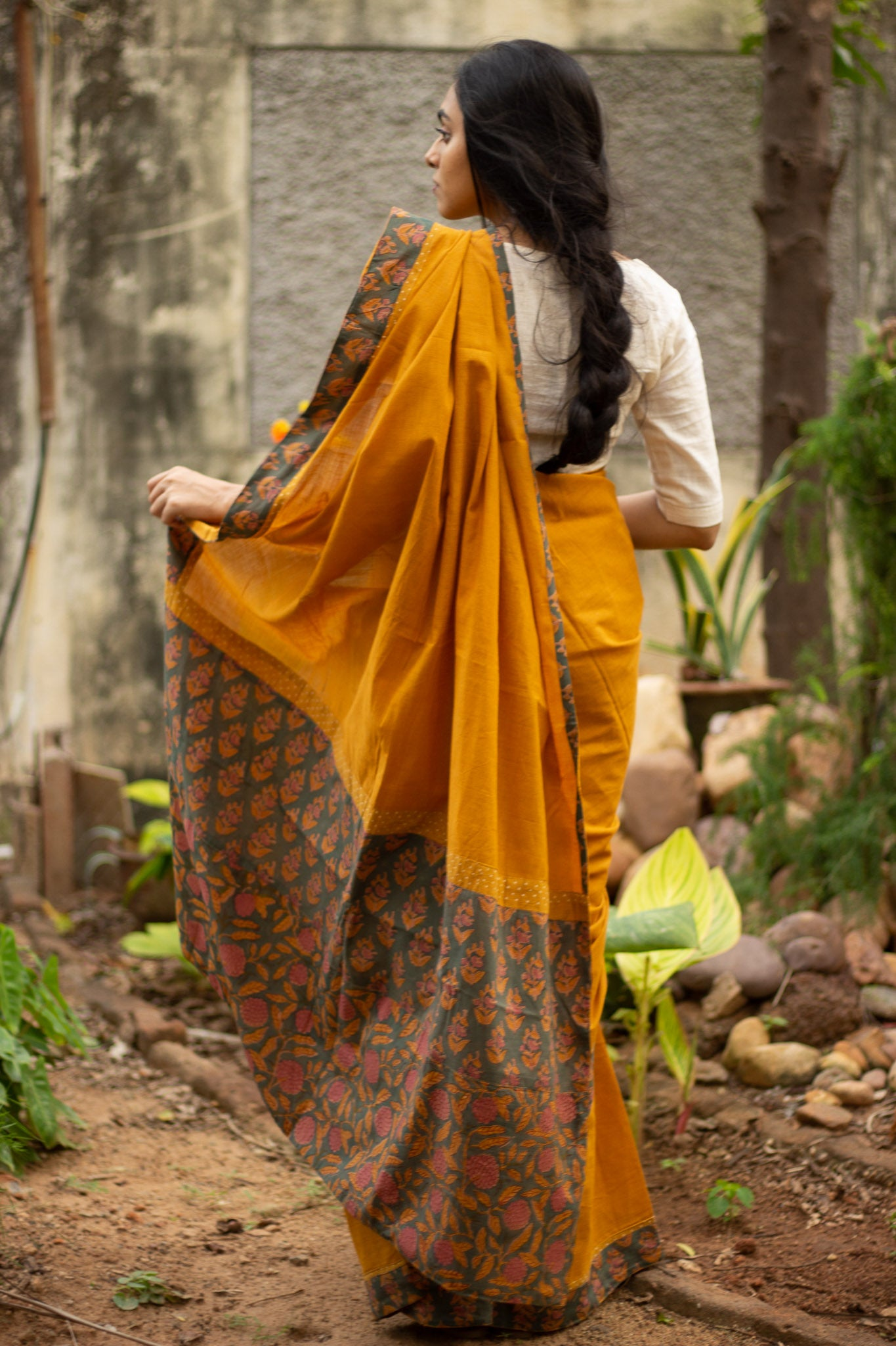Mustard patchwork saree