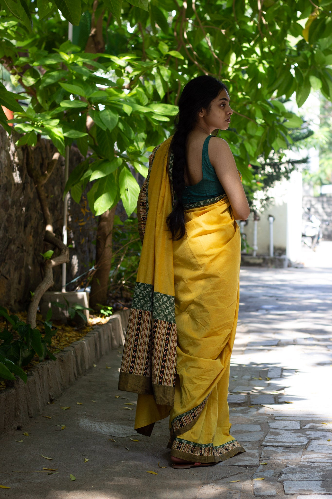 Yellow Mangalagiri cotton patchwork saree