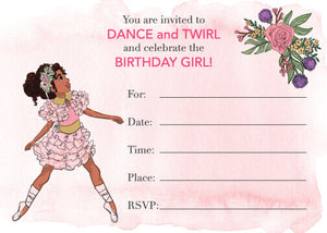 BALLERINA GIRL FILL IN THE BLANK INVITATION SET