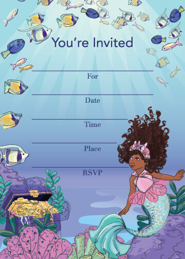 LET'S BE MERMAIDS PARTY FILL IN THE BLANK INVITATION SET
