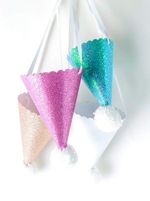 GLITTER POM POM PARTY HATS