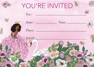 PRINCESS SWAN LAKE PARTY FILL IN THE BLANK INVITATION SET