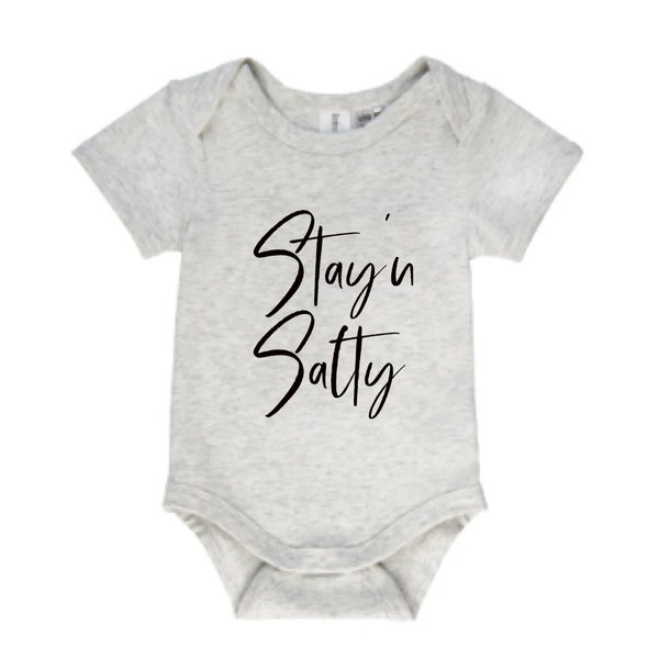 Stay'n Salty short sleeve baby bodysuit