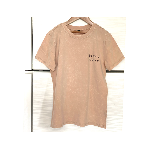 STAY'N SALTY Tan vintage wash tee
