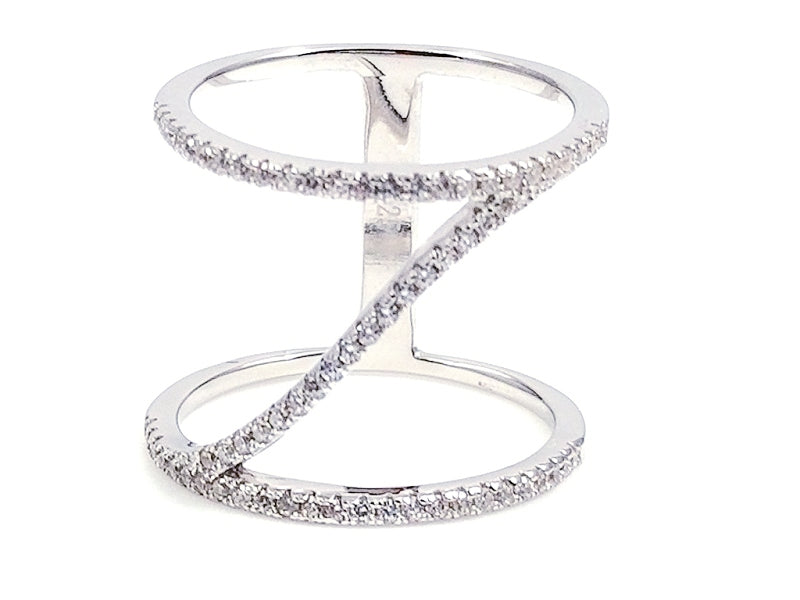 Sterling Silver CZ Cross Ring