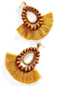 Wooden Fringed Handmade Earrings