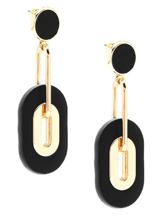Faux Leather Black and Gold Drop Earrings