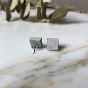 Raw Square Concrete Earrings - structur jewelry co.