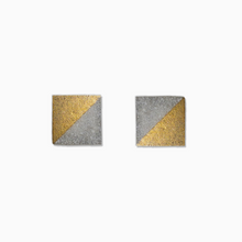 Load image into Gallery viewer, Gold Square Concrete Earrings - structur jewelry co.