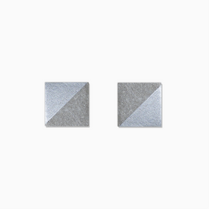 Silver Square Concrete Earrings - structur jewelry co.