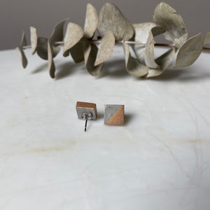 Copper Square Concrete Earrings - structur jewelry co.