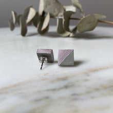 Load image into Gallery viewer, Rose Chrome Square Concrete Earrings - structur jewelry co.