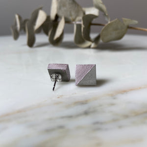 Rose Chrome Square Concrete Earrings - structur jewelry co.
