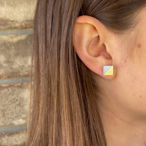 Gold Square Concrete Earrings - structur jewelry co.