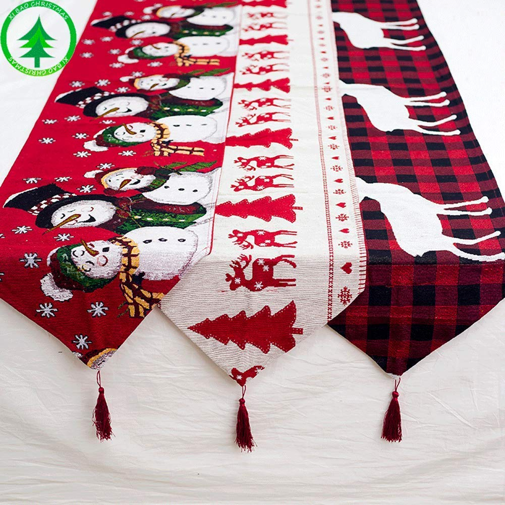 (Only$12.9 You Can Get) Table Cloth with Tassels Embroidered Christmas Table Decoration