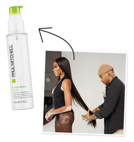 Super skinny serum product image with arrow pointing towards it from Cesar styling Winnie Harlows hair in a super sleek and straight style