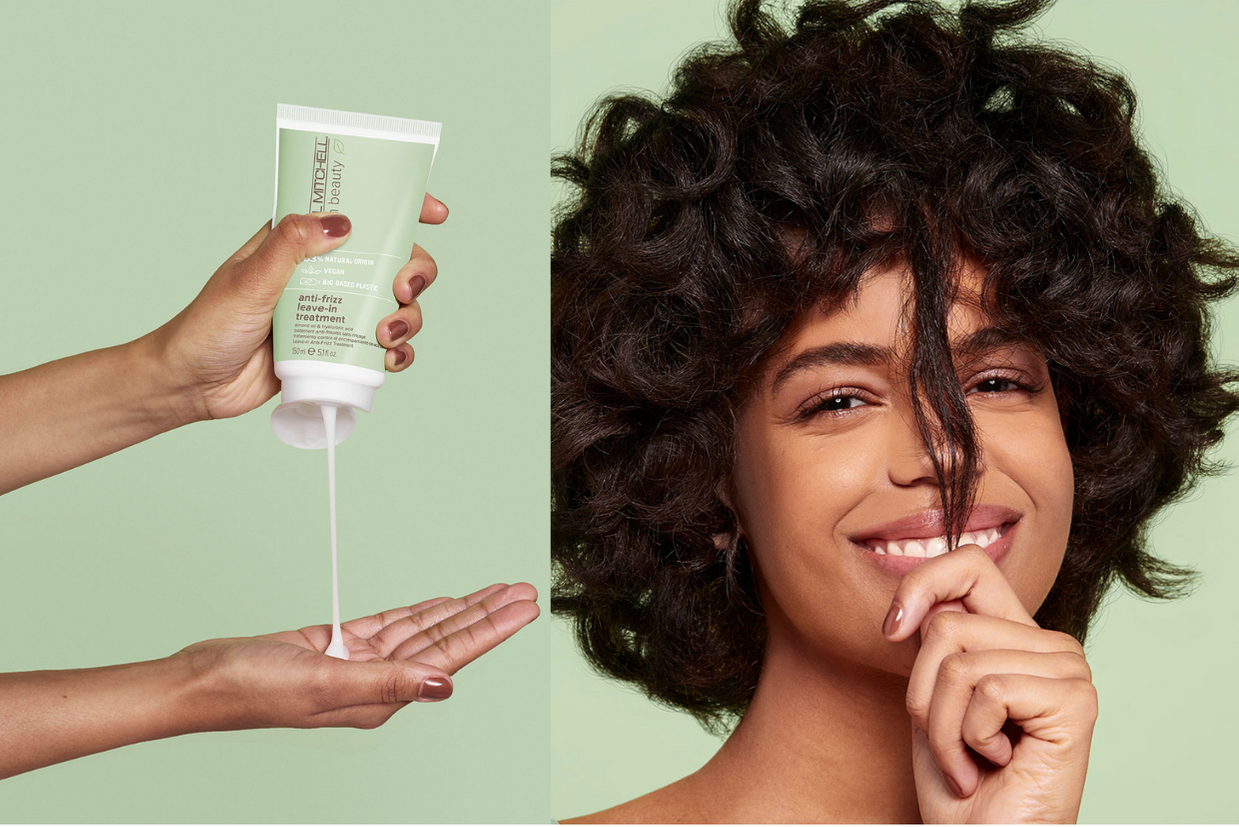 Clean Beauty anti-frizz product and model