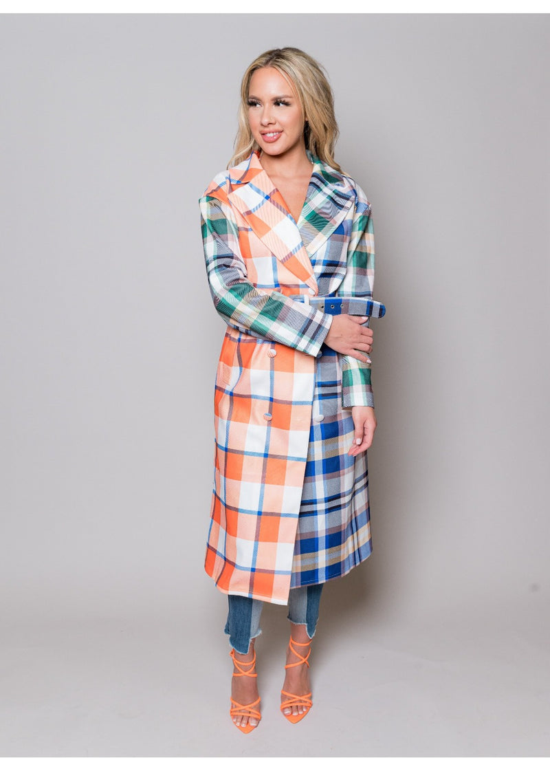 *Fashionista Plaid Trench