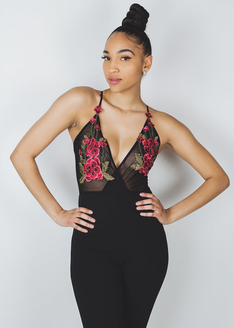 *Black Mesh Rose Jumpsuit