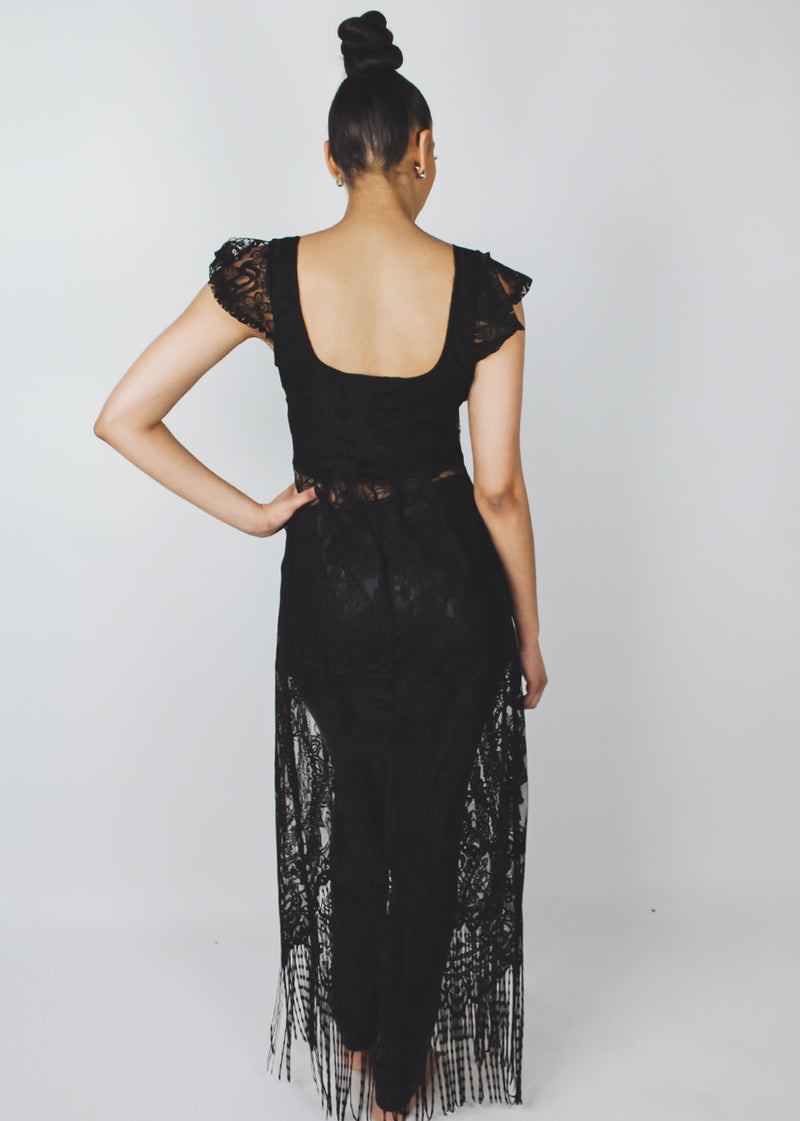 *Black Long Lace Top