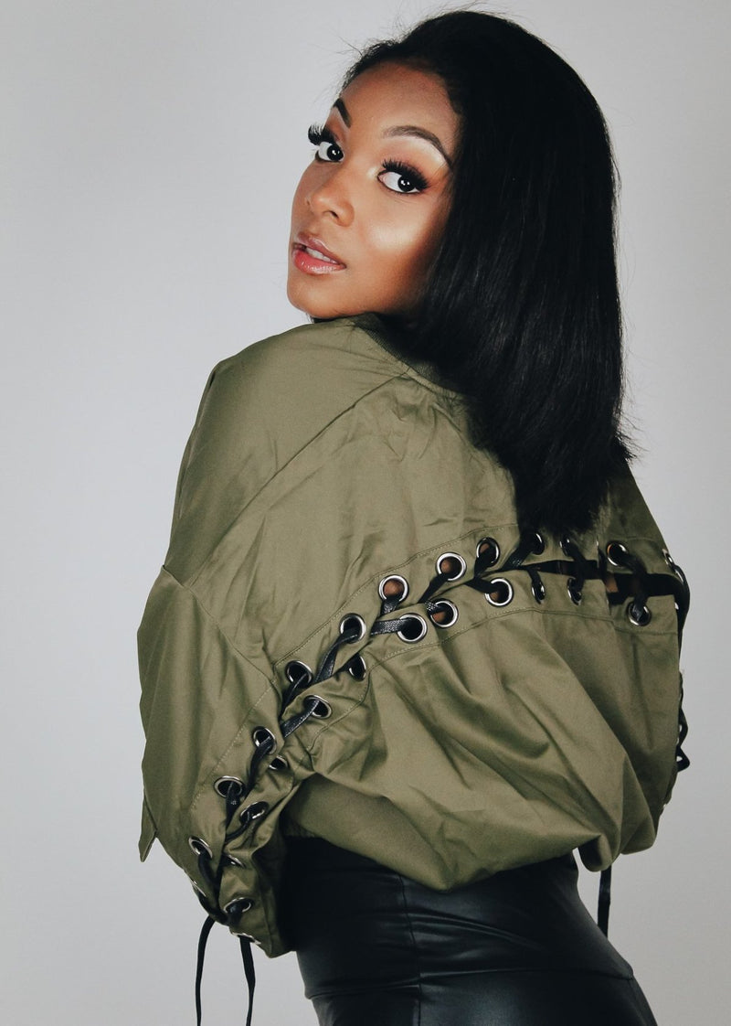 Tie It Up Olive Crop Jacket