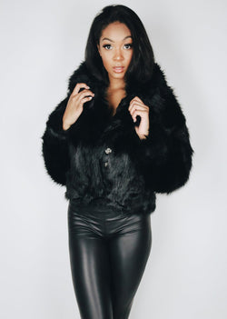 *Faux Fur Bomber | Black
