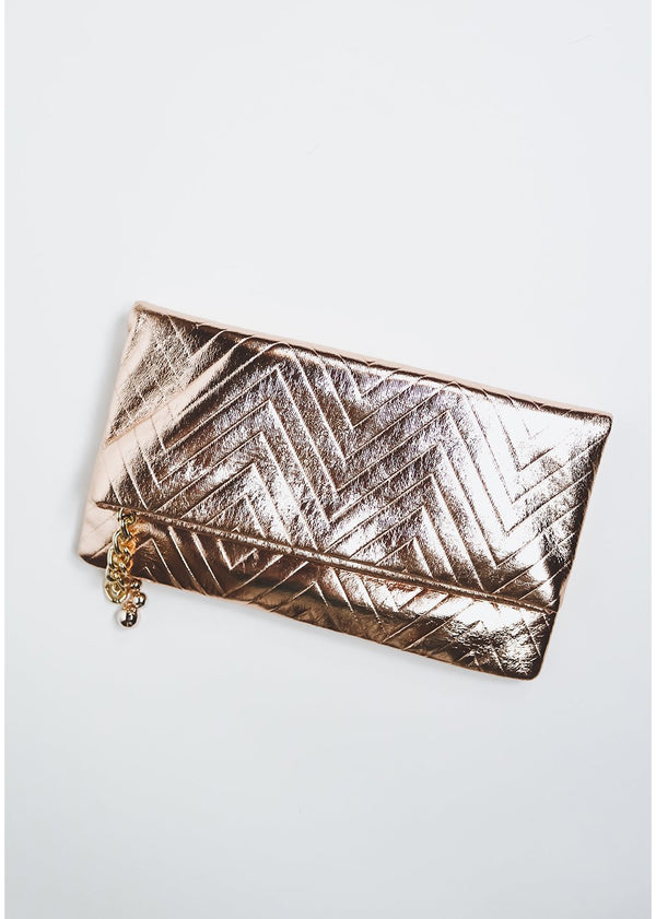 *Rose Gold Chevron Clutch