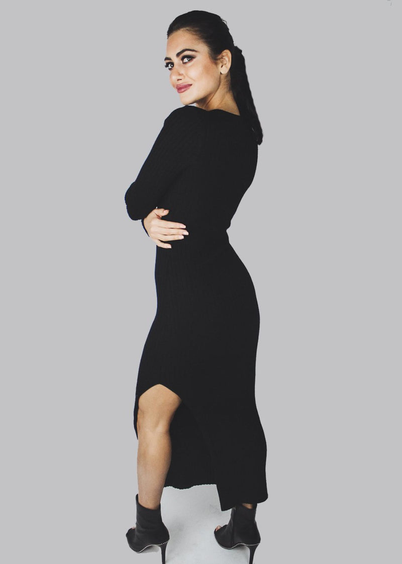 Ribbed Dress | Black