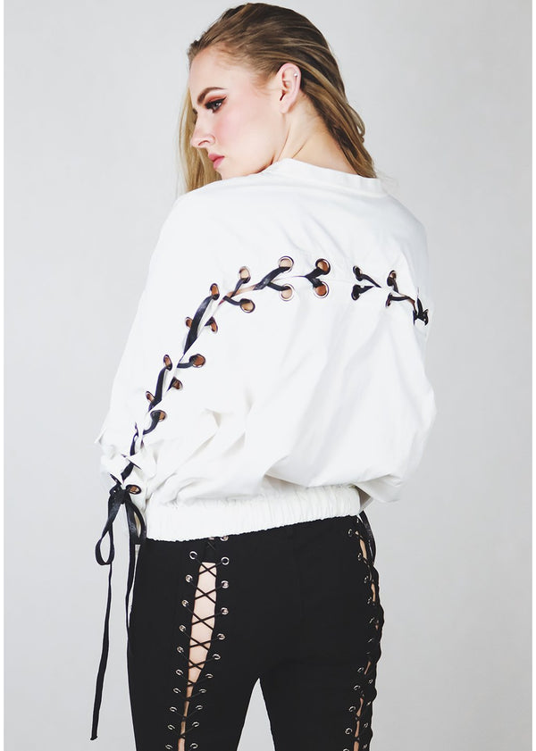 *Tie It Up White Crop Jacket